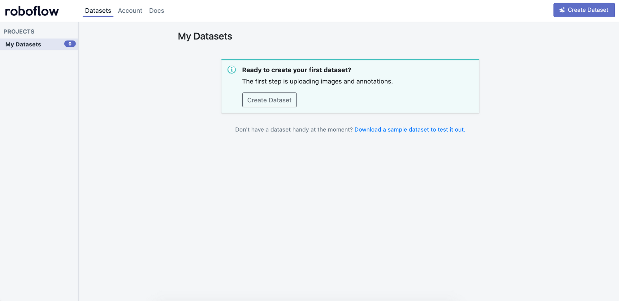 Roboflow Screenshot: Empty datastes page (Ready to create your first dataset?)