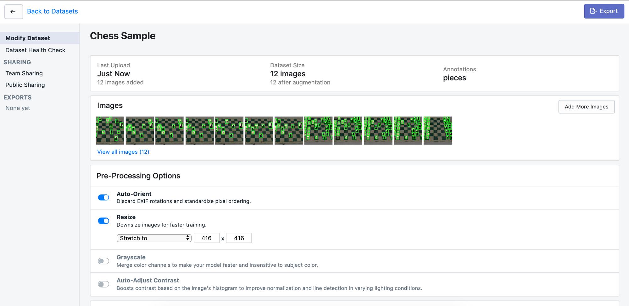 """Roboflow Screenshot: Dataset detail page (""""Chess Sample"""")"""