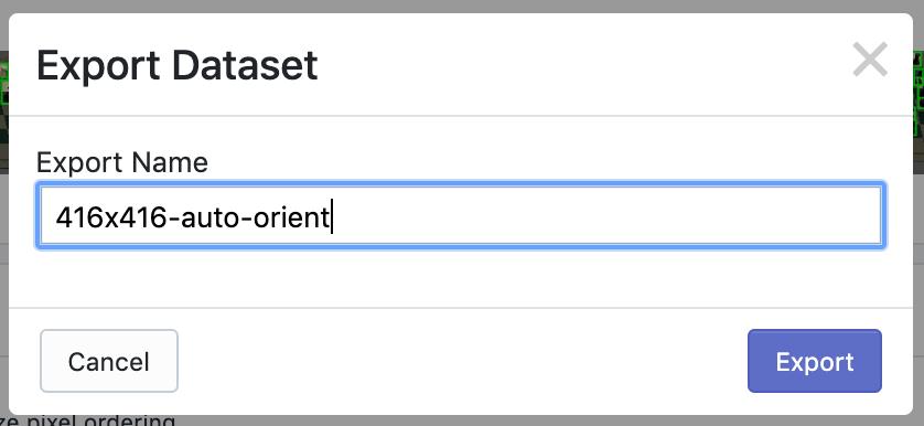 Roboflow Screenshot: Export Dataset dialog (Export Name: 416x416-auto-orient)