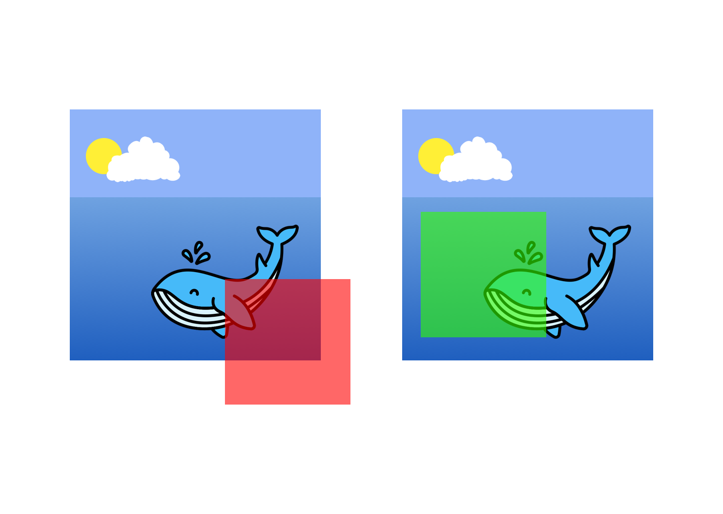 Visualization of invalid and valid annotations (red and green square over an illustrated whale)