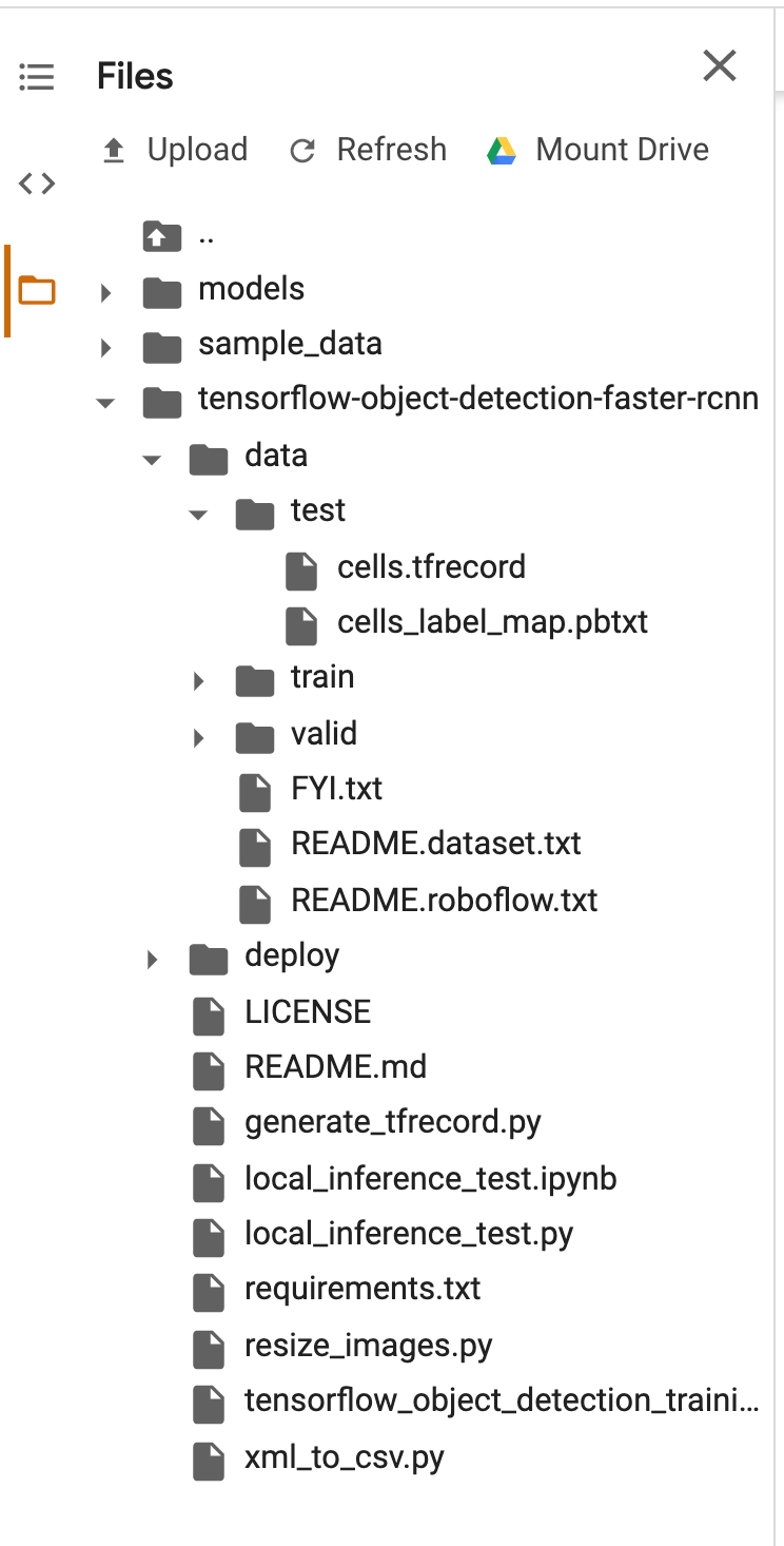 Google Colab screenshot: file list.
