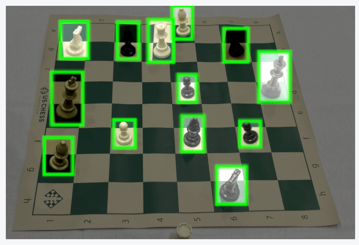 Chess board annotated for object detection with the interiors of the bounding boxes augmented.