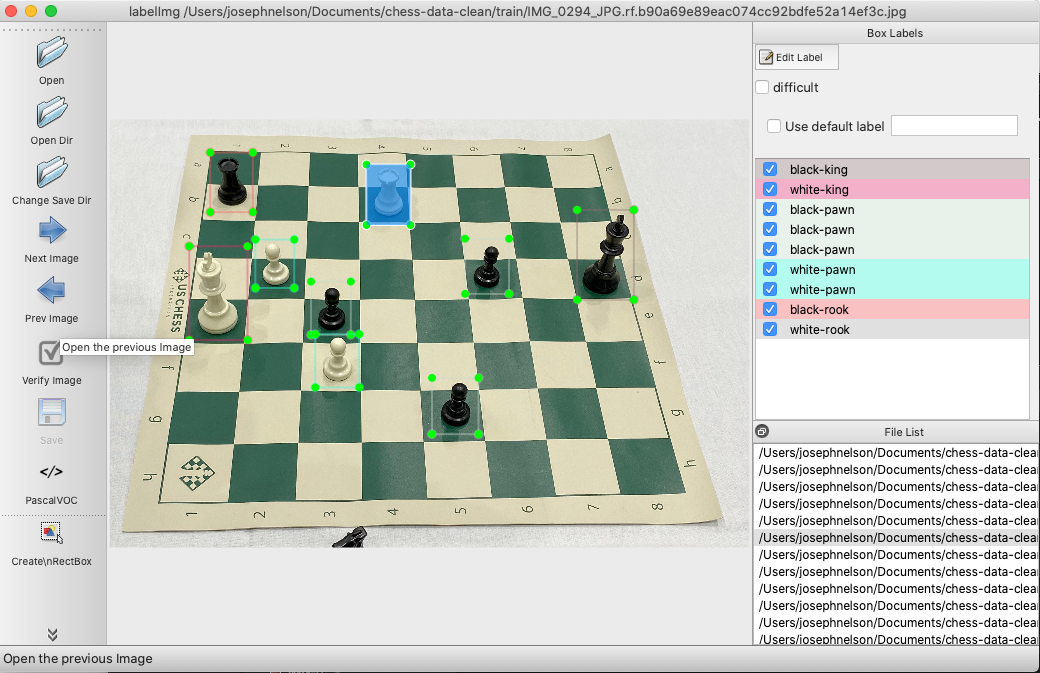 LabelImg screenshot: labeling chess pieces for object detection.