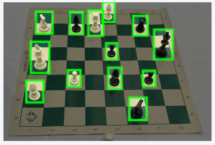 Chess board annotated for object detection.