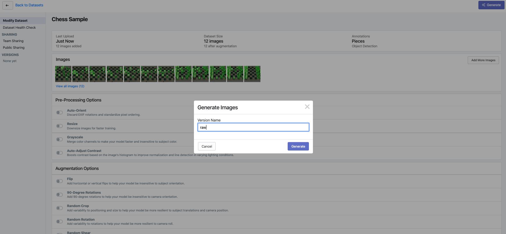 Roboflow Screenshot: Generate Images dialog.
