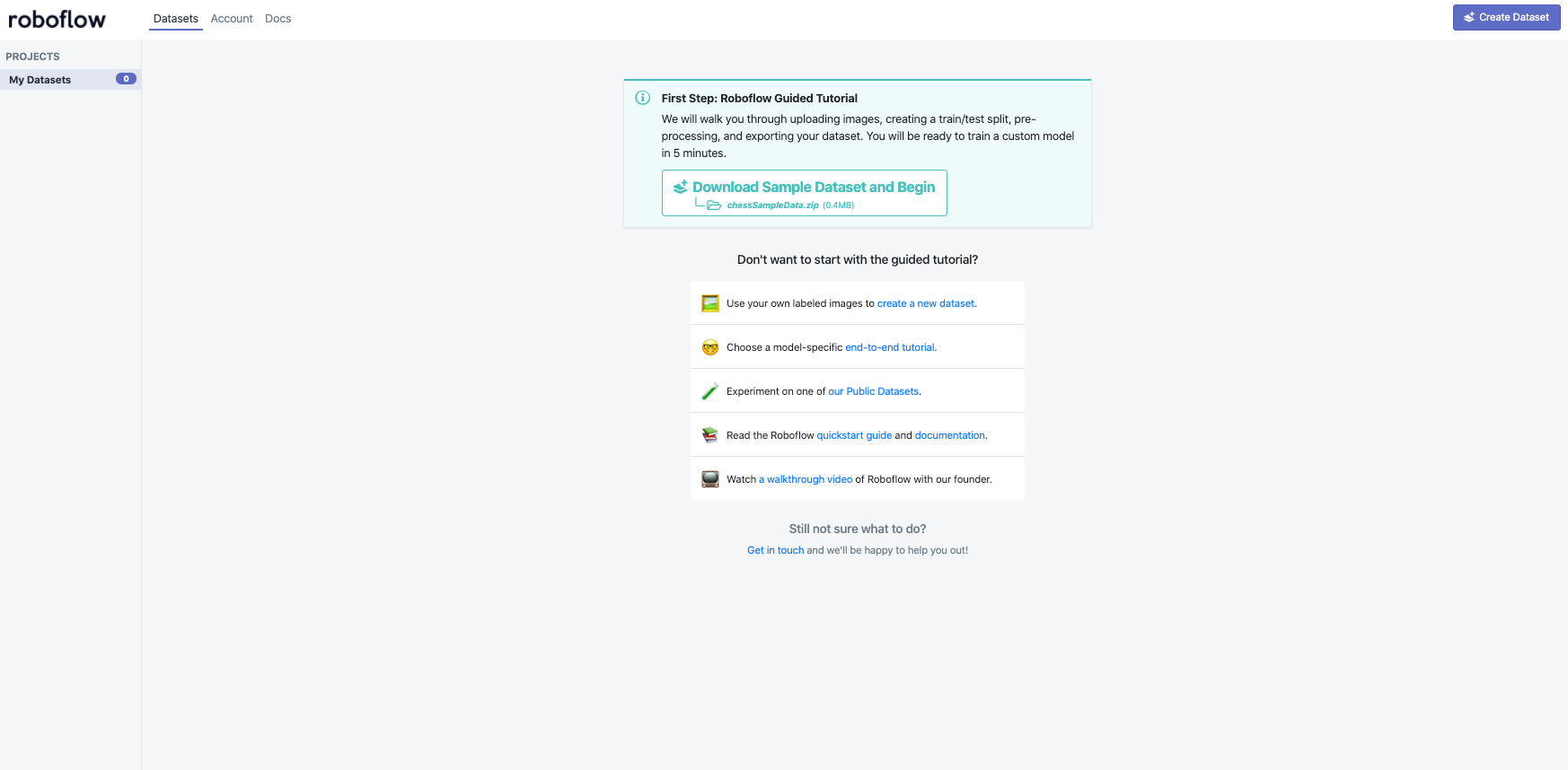 Roboflow Screenshot: First Step, Roboflow Guided Tutorial