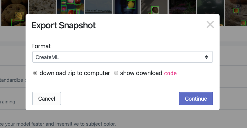 Roboflow Screenshot: Export Snapshot (Format: CreateML, Download zip to computer)