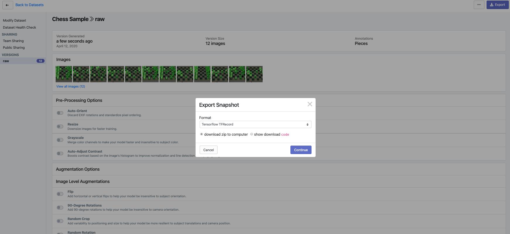Roboflow Screenshot: Export Snapshot (Tensorflow TFRecord)