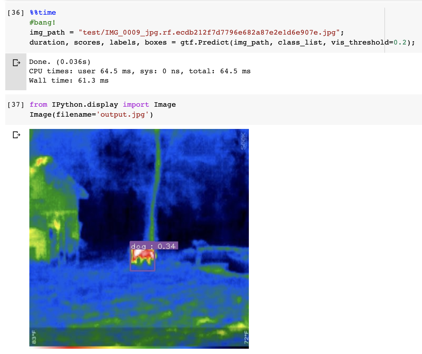 Jupyter Notebook screenshot: showing inference on a thermal image of a distant dog.