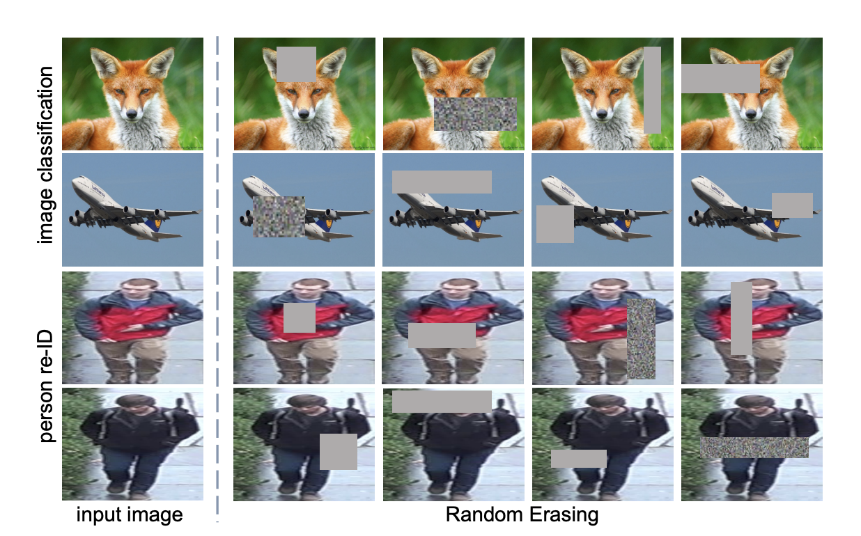 Random erasing of images in classification and person re-ID tasks (showing occlusion)