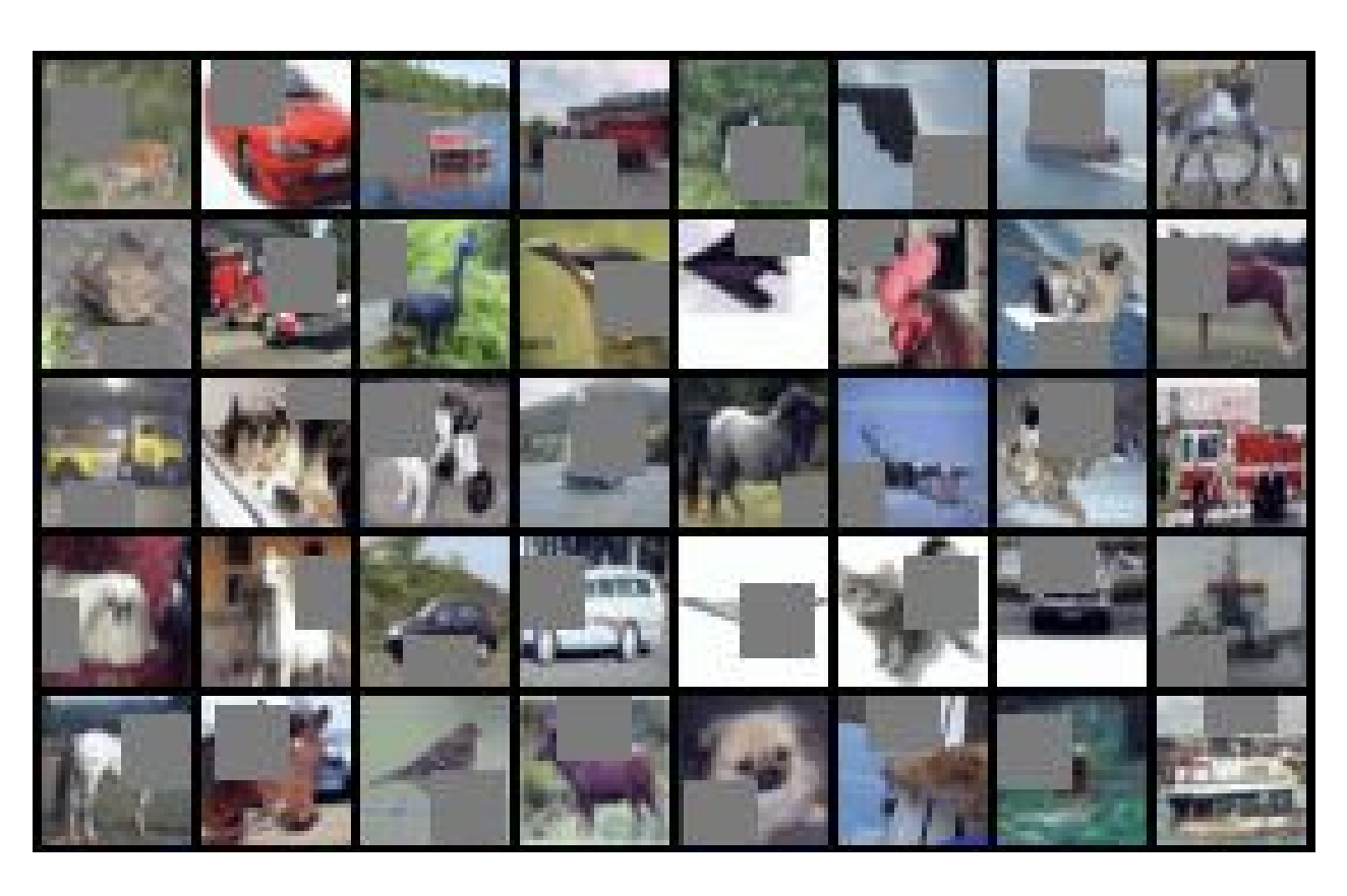 Image showing many thumbnails of images with randomly selected regions removed and shaded gray.