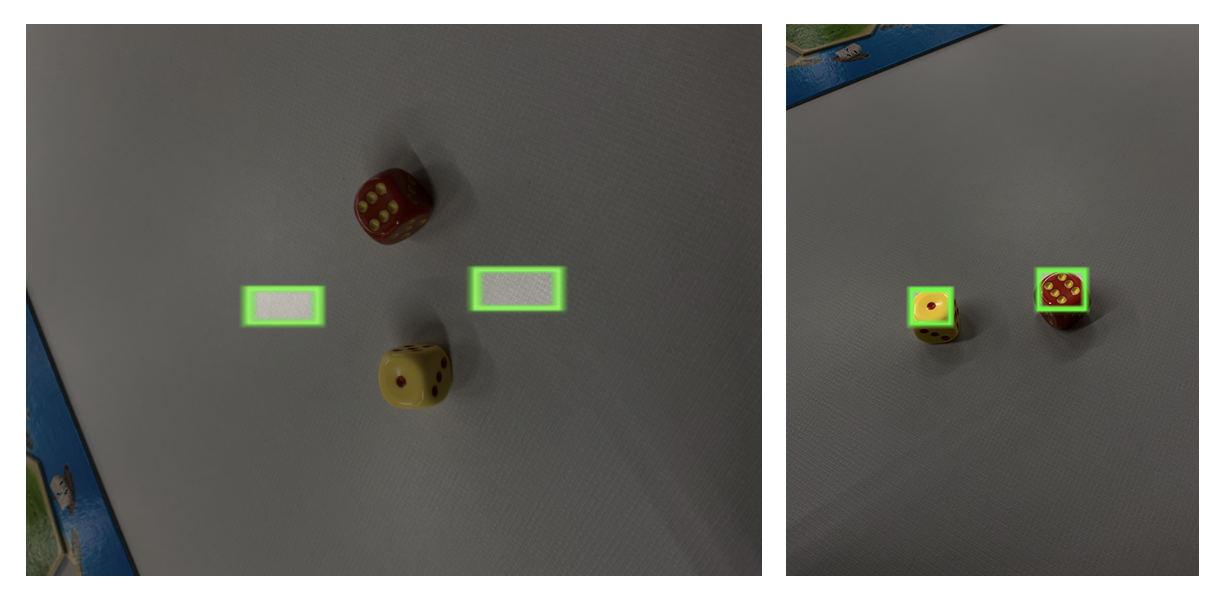 Two dice with bounding boxes misaligned and properly aligned based on image orientation.