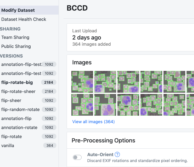 Roboflow Screenshot: Several versions of the BCCD dataset generated with different preprocessing and augmentation settings.