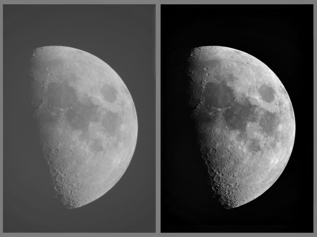 Image of the moon with low contrast and high contrast.
