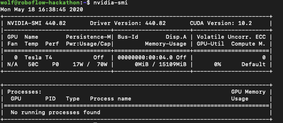 Terminal screenshot showing the results of nvidia-smi.