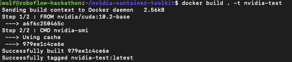 Terminal screenshot showing the results of docker build . -t nvidia-test
