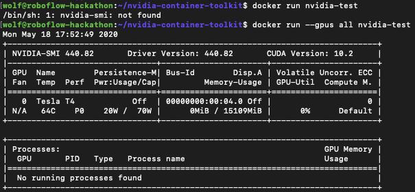 Terminal screenshot showing the results of docker run nvidia-test.