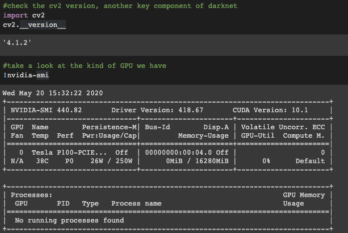 Terminal screenshot showing the results of nvidia-smi in Colab.