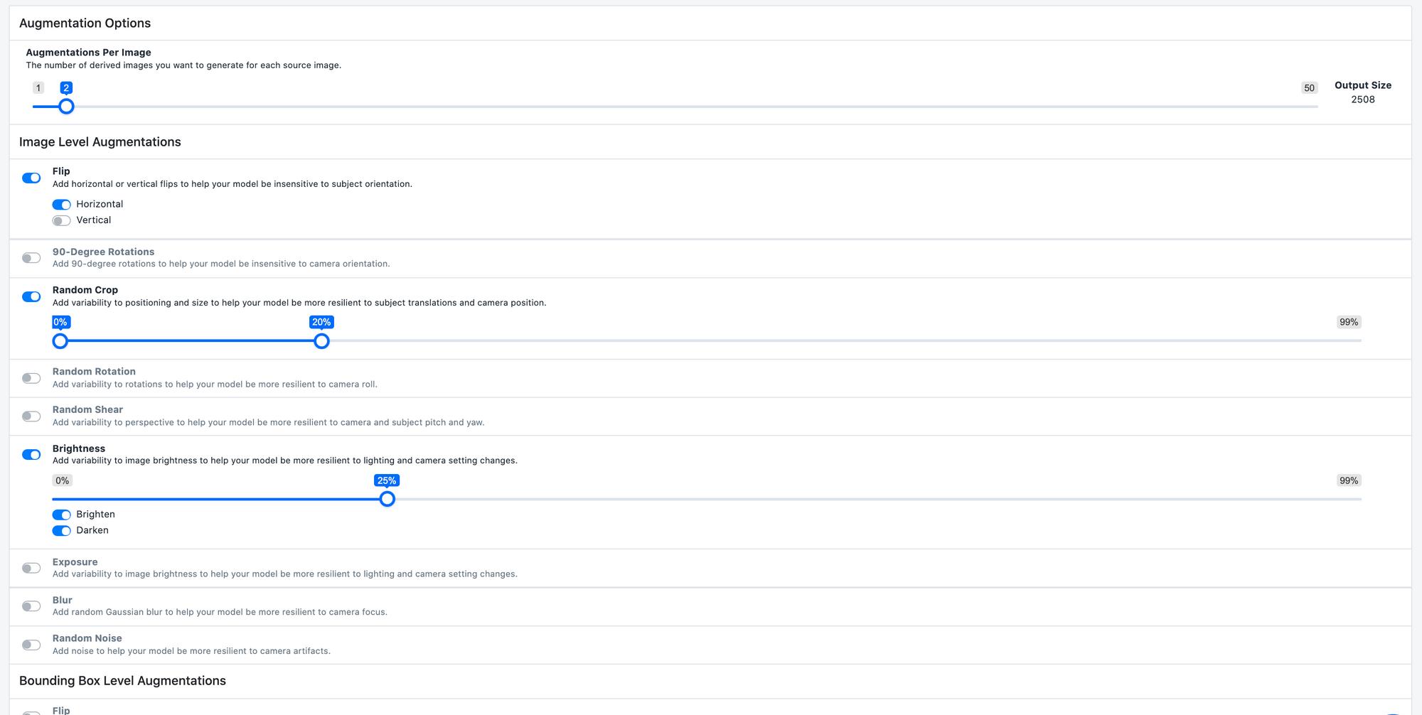 Roboflow Screenshot: choosing augmentation options.