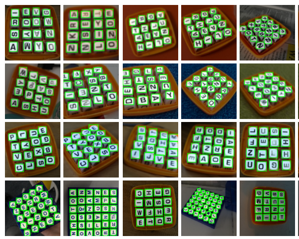A sample of some of our labeled Boggle Boards.
