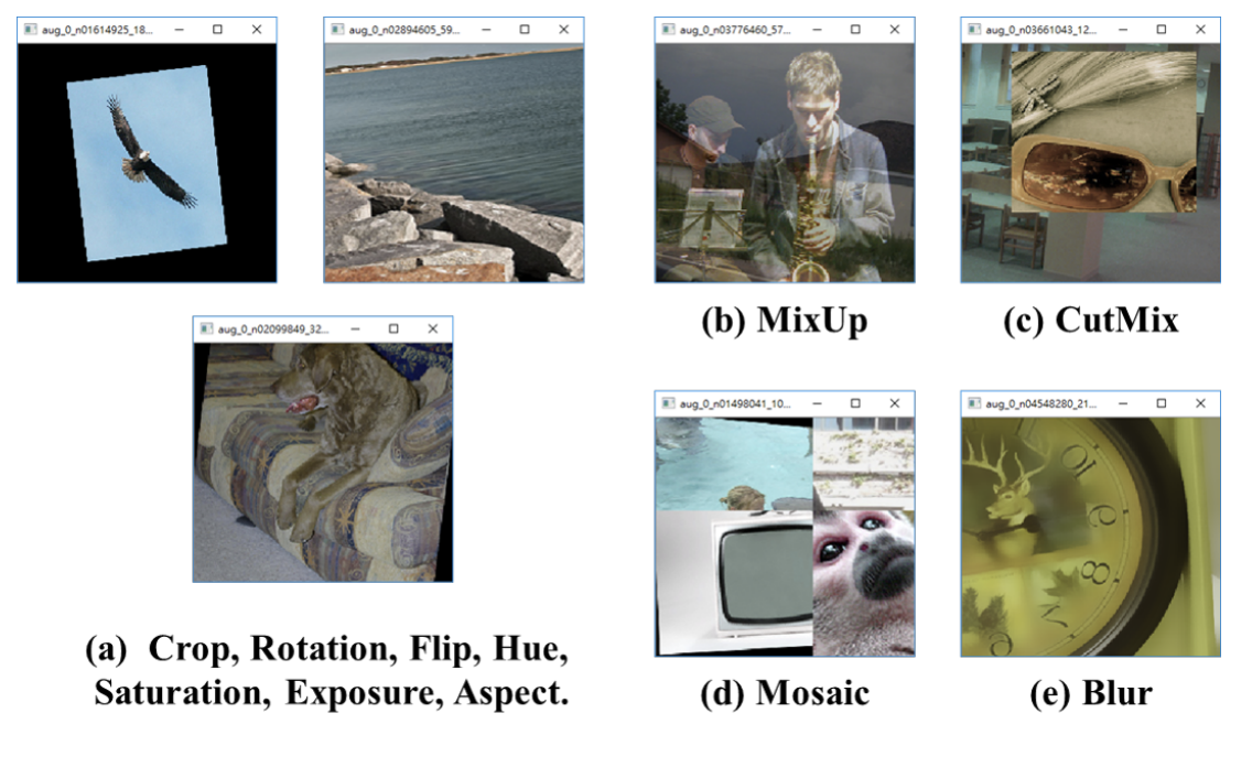 (a) Crop, Rotation, Flip, Hue, Saturation, Exposure, Aspect (b) MixUp (c) CutMix (d) Mosaic (e) Blur