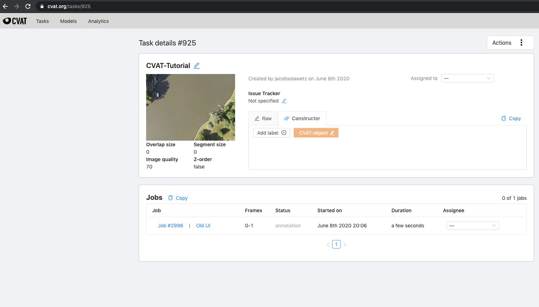 CVAT Screenshot: Task details