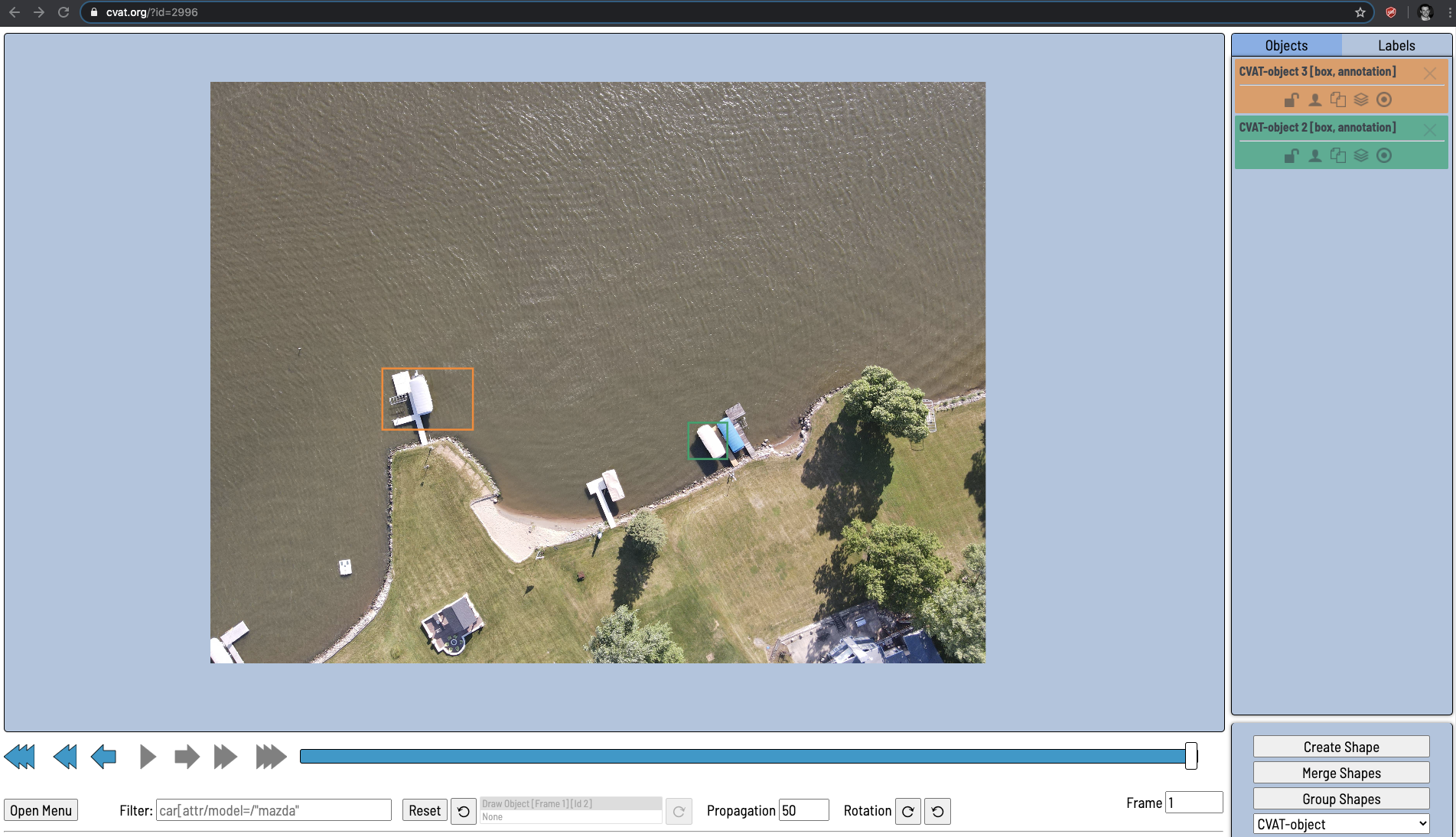 CVAT Screenshot: Labeling screen.