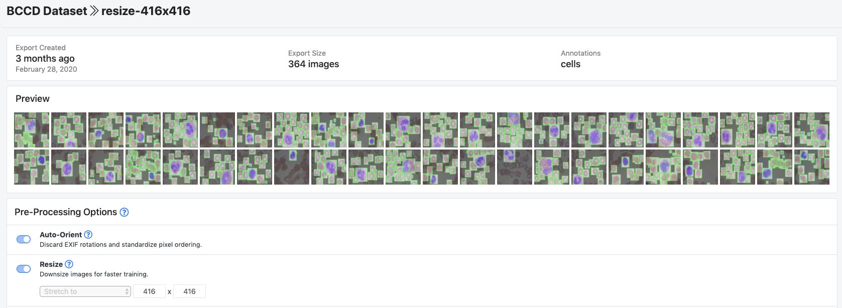 Roboflow Screenshot: BCCD Preprocessing Options