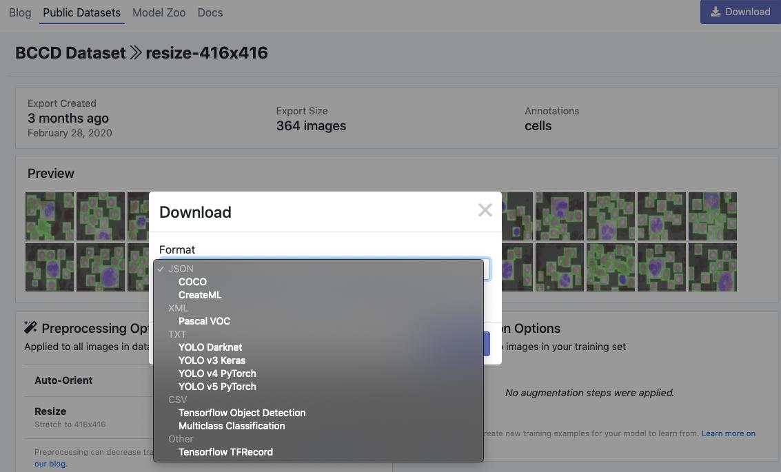 Roboflow Screenshot: Download Dialog (COCO, CreateML, Pascal VOC, YOLO Darknet, YOLO v3, Tensorflow, TFRecord)