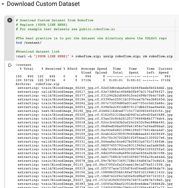 Jupyter Screenshot: Downloading a dataset from Robfolow
