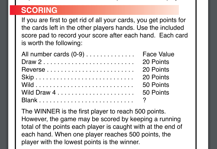 Uno Scoring Official Rules