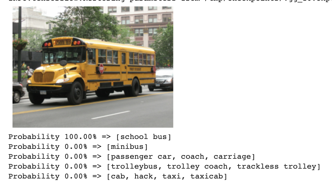 Output of classification model on a photo of a school bus (predictions: school bus 100%, minibus, passenger car, coach, carriage, trolleybus, trolley coach, trackless trolley, cab, hack, taxi, taxicab 0%)