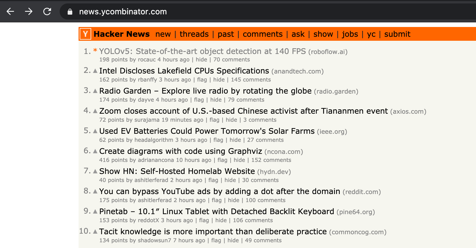 Hacker News Screenshot. 1. YOLOv5: State-of-the-art object detection at 140 FPS