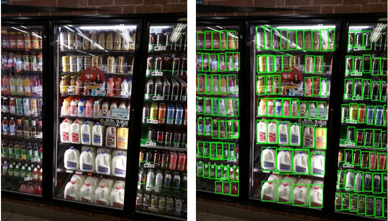 Fig 1.2: Store shelf image (on left) vs desired output with bounding box drawn on objects (right)