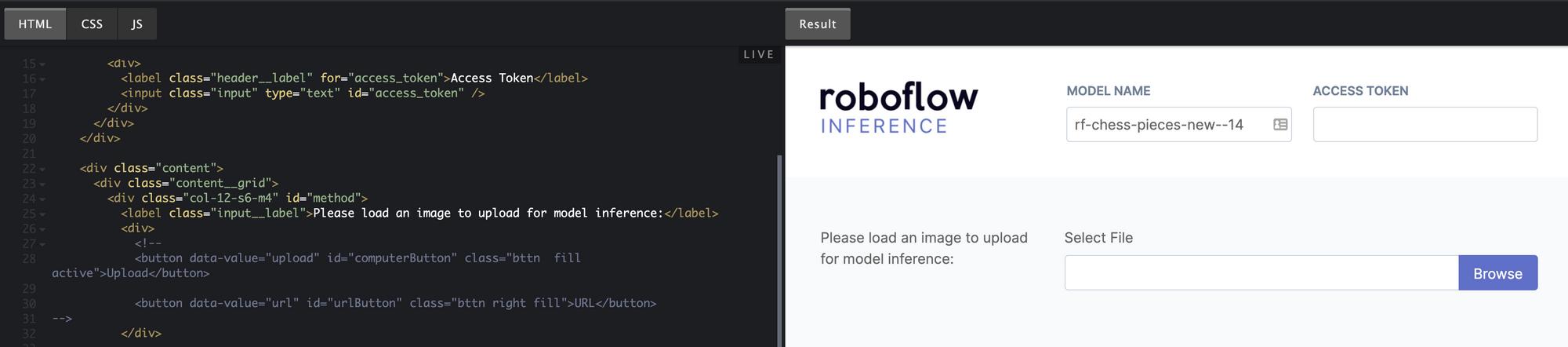 Customizing the Roboflow Infer Example Web App