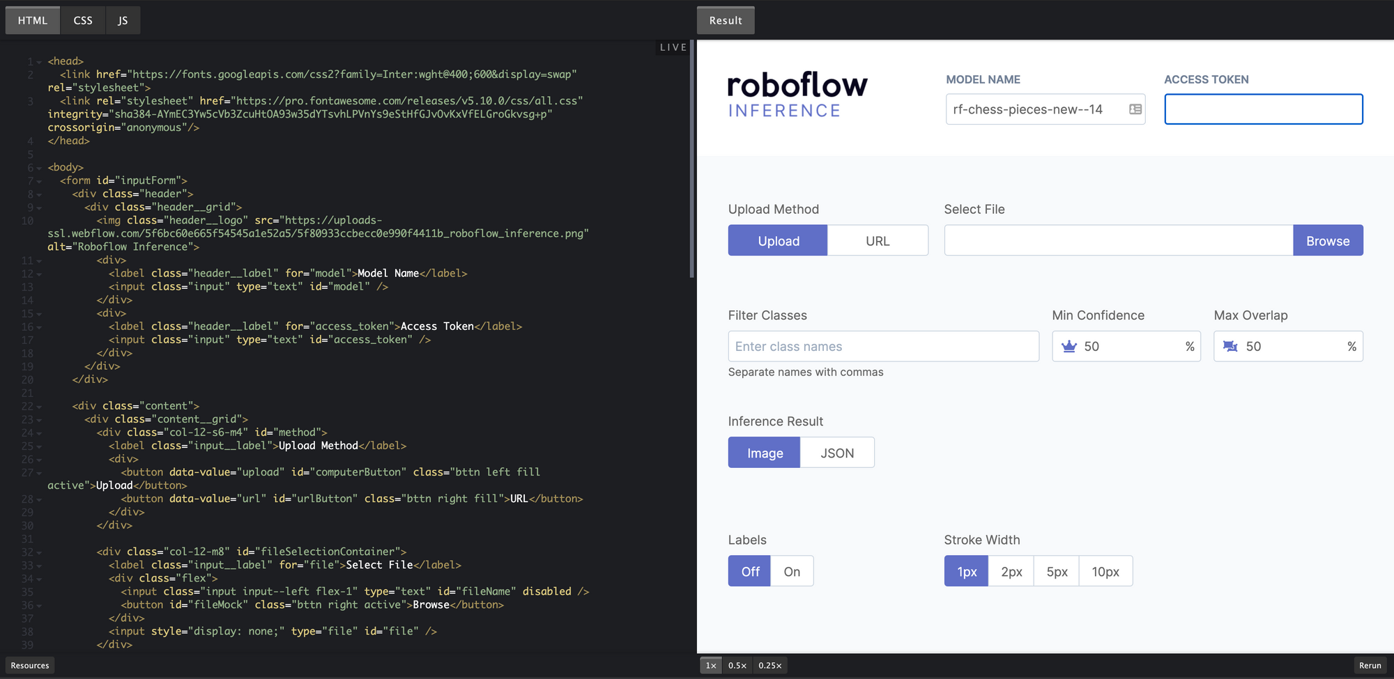 Roboflow inference web application