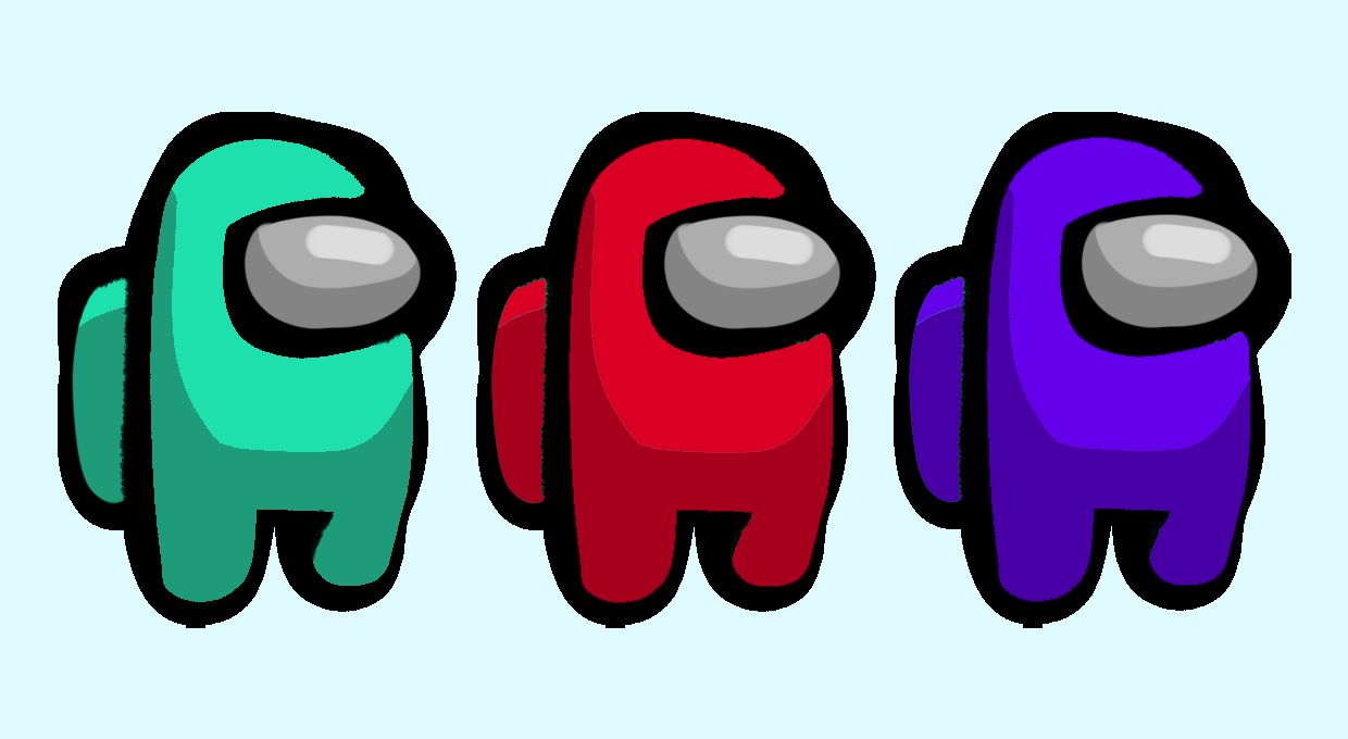 Three aliens: one cyan, one red, and one purple.