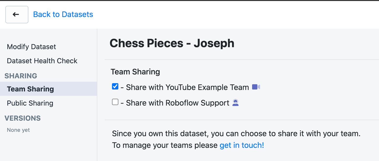 Roboflow Team sharing - Check the box for the team with which you want to share.