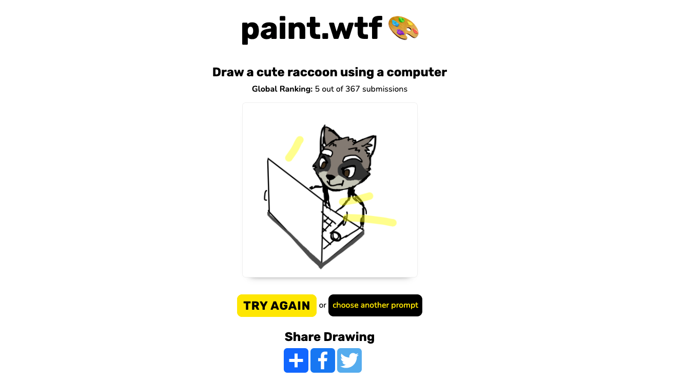 A submission on paint.wtf of a raccoon using a computer.