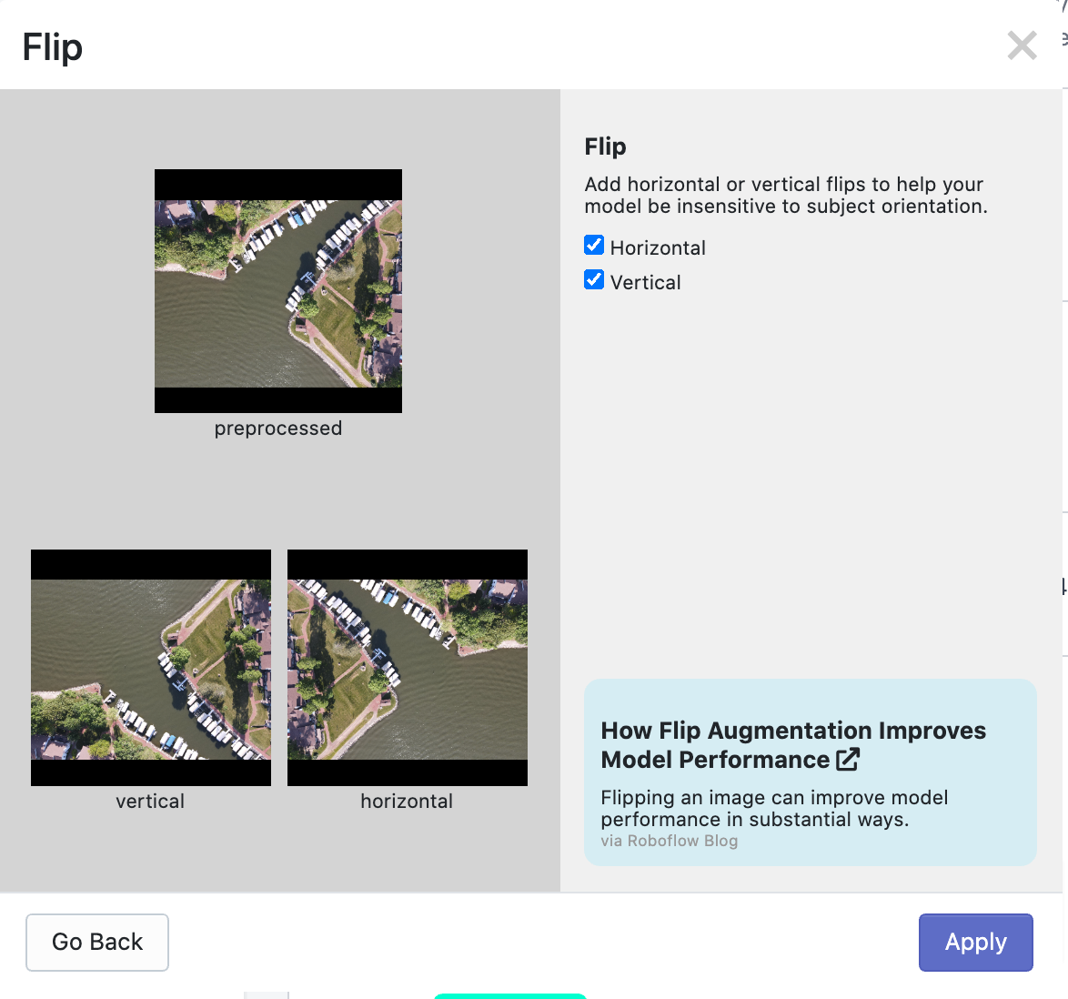 Random flip image augmentation mirrors an image across its x or y axis.