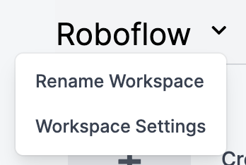 Workplace settings menu in Roboflow