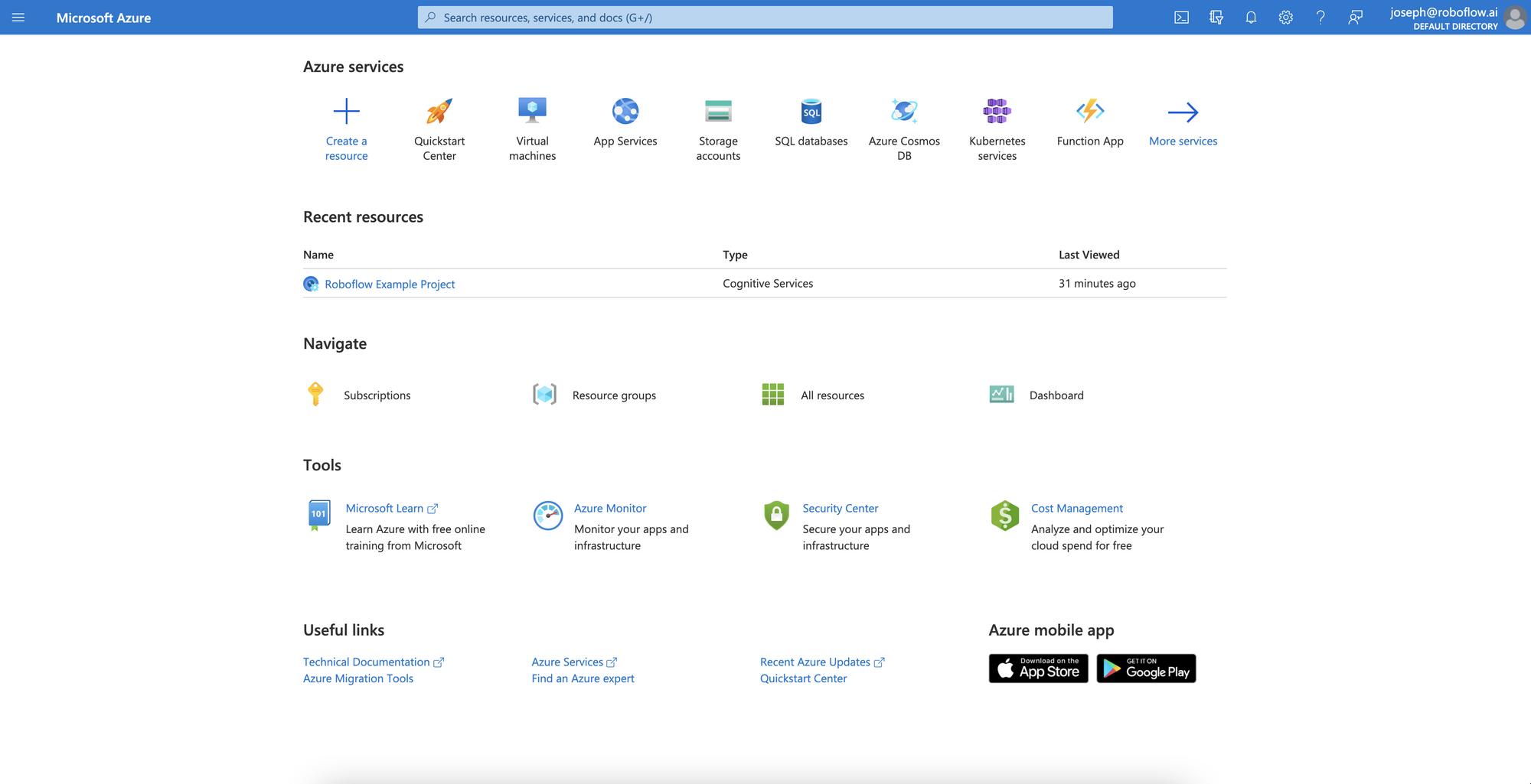 Microsoft Azure Portal Dashboard with Azure Custom Vision