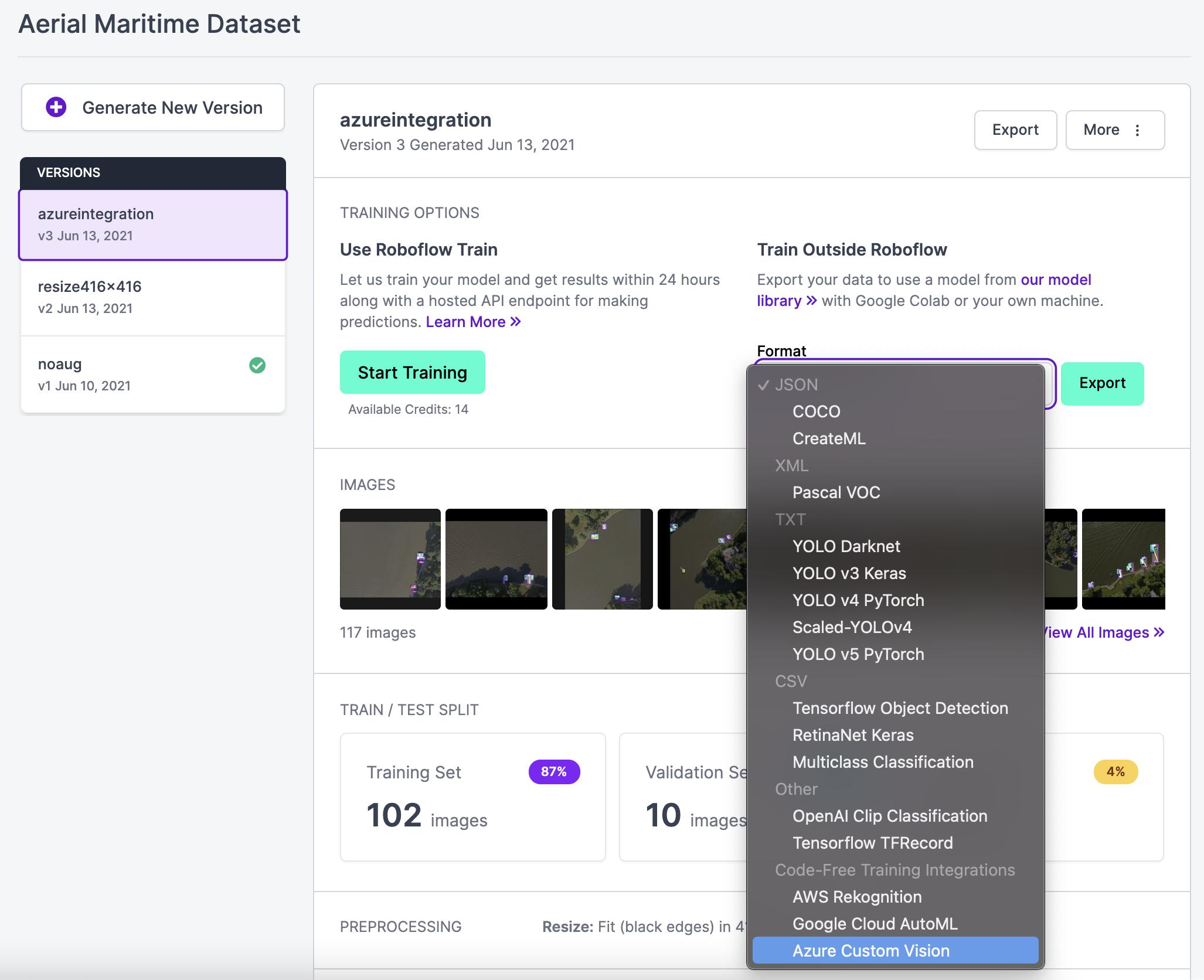 Export data from Roboflow as Azure Custom Vision.
