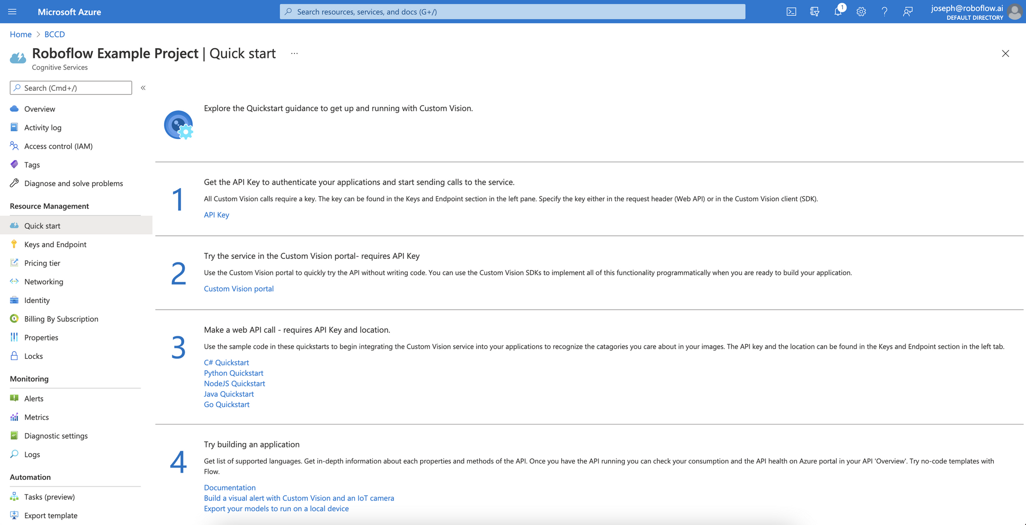 Azure Custom Vision Example Project.