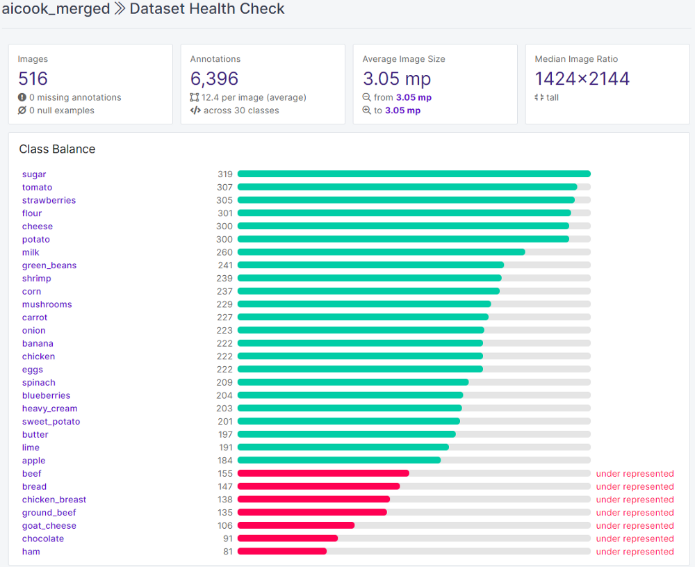 A look at the Dataset Health Check metrics for our dataset
