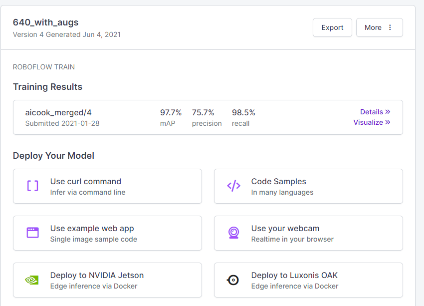 A look at the training metrics and deployment options for the model
